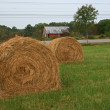 Hay Bales with Barn — Stock Photo