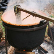 Cooking Apple Butter in a Cast Iron Cauldron — Zdjęcie stockowe