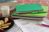 School notebooks with Apple Snacks — Stok fotoğraf