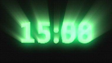 Green digital countdown timer — Stock Video