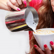 Woman making cappucino — Stock Photo