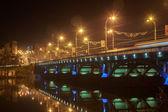 Bridge with blue lighting — Stockfoto