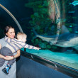 Mother and son in Oceanarium — Stock Photo