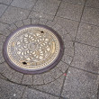 Stock Photo: Round steel sewer manhole