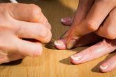 Güzel salon sürecinde manikür — Stok fotoğraf