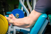 Man  with athletic barbell — Foto Stock