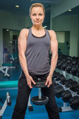 Woman practice with barbell — Foto Stock