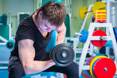 Man working with dumbbells — Stock Photo