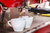 Coffee machine with two cups — Stock Photo