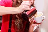 Woman making coffee — Stock Photo