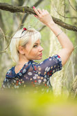 Woman in forest — Stock Photo