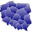 Map of Poland in a blue color isolated on a white background with 16 voivodeships. — Stock Photo