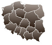 Map of Poland in a brown color isolated on a white background with 16 voivodeships. — Stock Photo