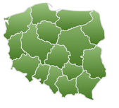 Map of Poland in a green color isolated on a white background with 16 voivodeships. — Stock Photo