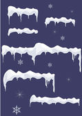 Ice-sheet with icicles, stars and snowflakes. — Stock Vector