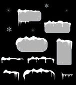 Christmas sale stickers and tags with icicles, snow top. — Stock Vector