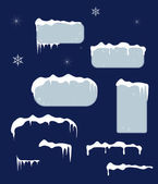 Christmas sale stickers and tags with icicles, snow top — Stock Vector