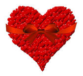 Heart made of hearts for a Valentine's Day with red bow — Stock Photo
