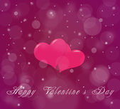 Couple of hearts on the violet red background with snow — Стоковое фото