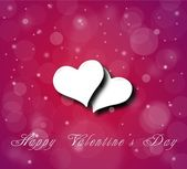 Couple of hearts on the violet red background with snow — Stock Photo