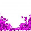 Frame of purple hearts on a white background for a Valentine's Day — Stock Photo