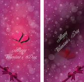 Couple of hearts on the dark red and violet background with snow — Stock Photo