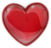 Red heart made of glass icon for a Valentine's Day — Stockfoto