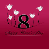 Happy Women's Day on March 8th. 8 march tucked with pocket on a red background. — Stock Photo