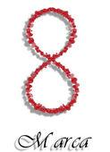Día de la mujer el 8 de marzo. fecha internacional de corazones sobre un fondo blanco. — Foto de Stock