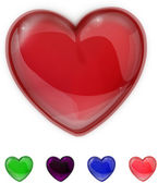 Red,purple,green,pink and blue glass shiny heart — Stok fotoğraf
