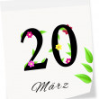 Calendar page with date of spring season-20.03.2014 year — Stock Photo