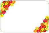 Esquina marco hecho de flores rojas y amarillas. frontera de flores aisladas — Vector de stock