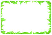Green border made of leaves as design element of page with space text — Stock Photo