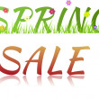 Inscription Spring sale with flowers,grass and glass effect — Stock Photo