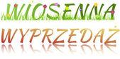 Napis sprzedaż wiosna, kwiaty, trawy i szkła efekt w p — Zdjęcie stockowe