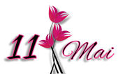 Mother's Day on May 11th. Date with letters with pink flowers in German — 图库照片