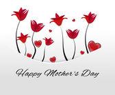 Cartão branco, bolso com flores vermelhas e corações escondidas no dia das mães — Fotografia Stock