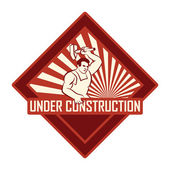 Vintage under construction sign — Stock Vector
