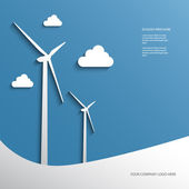 Wind turbines layout — Stock Vector