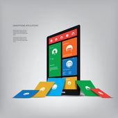 Smartphone apps presentation metro flat style — Stock Vector