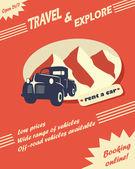 Vintage car rental flyer — Stock Vector