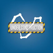 Modern under construction sign with futuristic robots — Stockvector