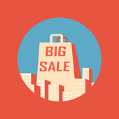 Big sale vintage poster with shopping bag between buildings — Stock Vector