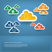 Cloud computing application concept with icons in the cloud and space for text — Stock Vector
