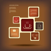 Coffee menu or infographics vector illustration with various types of coffee suitable for restaurant menu or presentation — Stock Vector