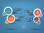 круглый белый инфографики элементы с различными иконками для инфографики, веб-макет, презентаций и т.д. — Cтоковый вектор