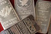 10 Troy Ounce Silver Bullion Bars — Stock Photo