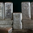 Stock Photo: Stacked Silver Bullion Bars