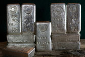 Stacked Silver Bullion Bars — Stock Photo