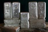 Stacked Silver Bullion Bars — Stock Photo